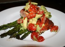Blackened Salmon on Asparagus with Chunky Avocado Salsa