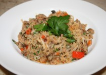 Turnip Risotto with Sausage, Red Pepper, and Mushrooms