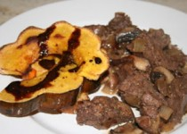 Balsamic Beef Tenderloin Tips with Mushrooms and Acorn Squash