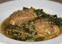 Chicken and Collard Greens Simmered in Spiced Coconut Milk