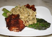 Blackened Fish With Asparagus and Olive Tapenade