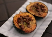 Acorn Squash with Savory Sausage Custard