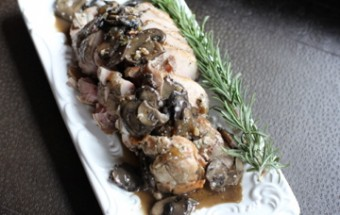 Prosciutto Stuffed Pork Loin with Mushroom Sauce