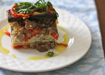 Eggplant Strata with Sausage and Cashew Ricotta